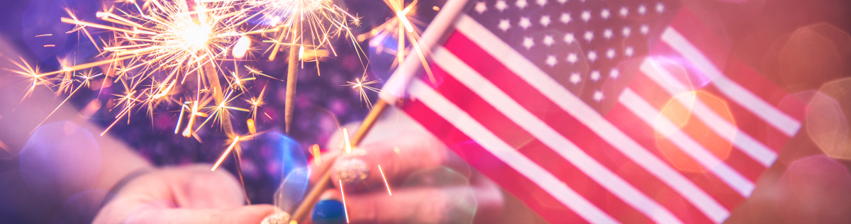 fourth of july blog header, usa flag and fireworks